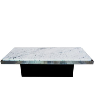 table basse 1970,table basse marbre blanc,marbre de carrare,vintage,pied central,design,originale,chromé,noir,blanc,brillant,laqué,vintage,70,60,table basse design des années 70,table basse en marbre