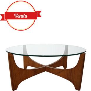 table basse,verre et teck,scandinave,étoile, salon, hugues,poignant,1950,1960,gplan,
