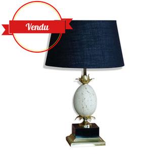 lampe oeuf d'autruche,travertin,1970,grande lampe 1970,vintage,chic,salon,laiton,palmier,épis,or,vintage,doré