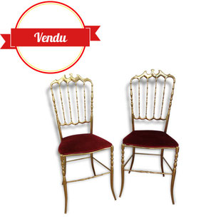 chaises, Chiavari, laiton, velours, rouge,theatre,vintage,glamour,mignonne,coquette,ancienne