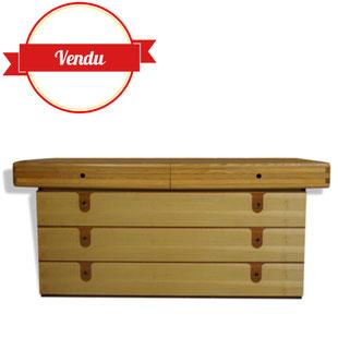 grande commode vintage,1960,1970,commode originale, meuble tiroirs, cuisine, chambre,bois,originale,vintage,seventies,space age,circa,buffet,vinyage