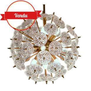 lustre sputnik,lustre snoball,lustre fleur,lustre pissenlit,lustre emil stejnar,lustre laiton et cristal,lustre boule,lustre vintage,lustre design,lustre 1950