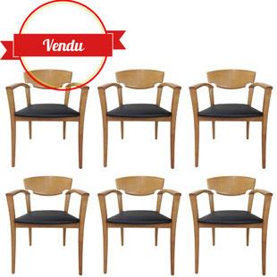 6 chaises design,hétre massif,bois massif,vintage,design,fauteuils,chaises accoudoirs,originales,majdeltier