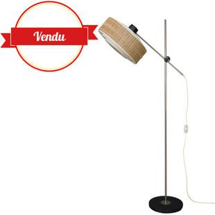 lampadaire années 50,liseuse années50,luminaire des années 50,lampadaire vintage,design des années,abat jour bois et plastique ,orientable,réglable,vintage,lampadaire rétro,majdeltier,noir blanc,bois,lamelles de bois,joli design