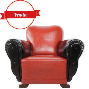 fauteuil club vintage,fauteuil club ancien,fauteuil club simili cuir,fauteuil coloré,majdeltier,vintage et design