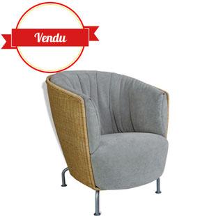 fauteuil Cinna,CInna vintage, ligne roset, roche bobois, vintage, thibault Desombre, rotin, naturel,confortable,design,moderne, gris, tressé