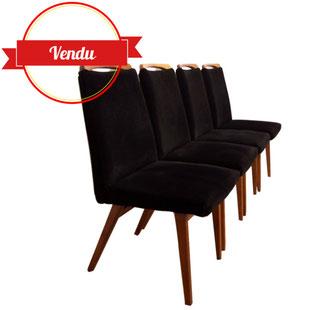 chaises,1950,1960,velours,noir,compas,bois,confortable,salle a manger,vintage