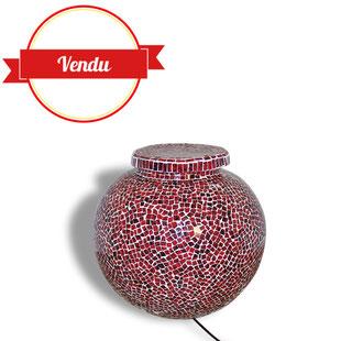 lampe,lampe de sol,de parquet,mosaique,rouge,verre,orientale,seventies,tamisée,fibre de verre
