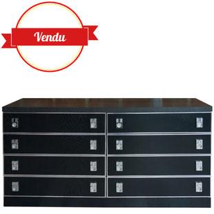 commode 1970,1970,commode vintage,commode chromée,poignées chromées,8 tiroirs,space age,bois,vintage,1970,années 70