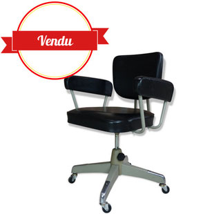fauteuil de bureau industriel,indus,fauteuil,métal,piétement étoile,1950,1960,1970,50,60,70,années,simili cuir,skai,accoudoir,vintage,strafor,desk chair,industrial,office chair,japan,japon,chitose,french