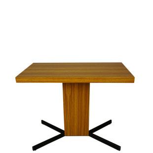 table pierre guariche,design pierre guariche pour meurop,table télé,table tv, vintage,bois pivotante,vintage,majdeltier,design,pied en x,années 50