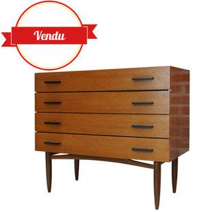 grande commode scandinave,commode,teck,vintage,1950,1960,1970,poignées métal,large,belle,élégante,vintage,occasion