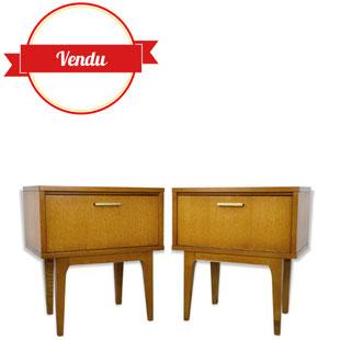 paire de tables de chevets vintage,chevet vintage,chevet rétro,chevet teck,chevet 1950,pieds compas,design