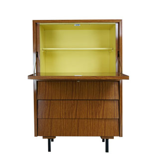 secrétaire formica, bureau guariche, bureau 1950, arp,vintage,secrétaire, formica, bois, jaune, commode, tiroirs, ordinateur,guariche,meurop,arp, vintage,jaune