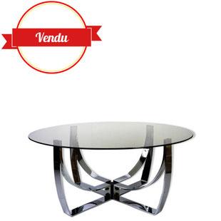 table basse ronde chromée,table basse design des années 70, roger sprunger,table basse verre fumé,table basse vintage ronde,design,majdeltier
