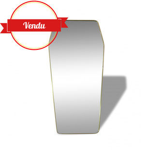 miroir,vintage,laiton,doré,1950,1960,diamant,rétroviseur,xl,xxl,grand,géant
