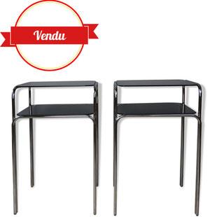 table d'appoint verre fumé et chrome 1970,guéridon haut 1970,années 70,chevet chromé 1970,design et vintage