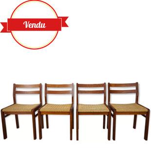 chaises de repas scandinave,chaises corde tressée,chaises cordage,chaises teck,chaises scandinave,1960,vintage,retro