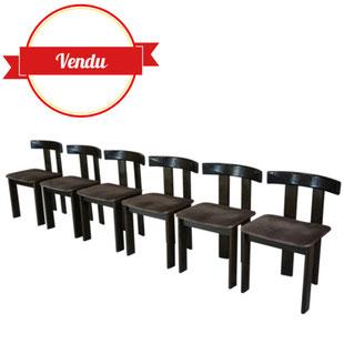 6 chaises 1970,Former, pinuccio, borgonovo, 1971,design italien,made in italy, modèle euro, cassina,scarpa,tobias, italie, magistretti, élégante, moderniste, bois, vintage, design, majdeltier