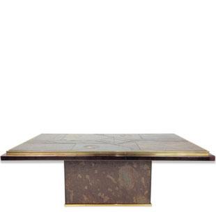 table basse, paul kingma, brutaliste,marquetterie, table brutaliste, table basse 1970, table marquetterie, bronze, las vegas, marquetterie de pierres