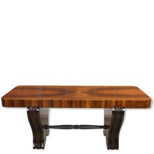 table basse art déco en noyer,noyer,art deco,vintage,antique,antic,french design,france,majdeltier,bois laqué noir,rectangulaire,arrondie,galbée
