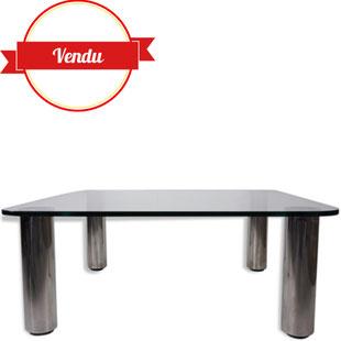 table basse design verre, table basse zanotta,marcuso, vintage, Marco Zanuso, verre, pieds chromés, carrée, moderniste,Paolo Piva, 1970