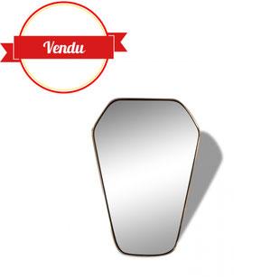 miroir,vintage,retroviseur,laiton,diamant,1950,1960,superbe,scandinave,soleil