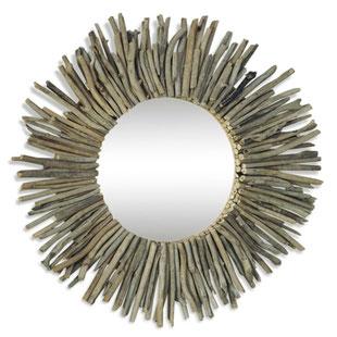 miroir soleil,miroir bois,miroir bois flotté,ancien,rond,bois,flotté,soleil,vintage,bord de mer