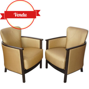 paire de fauteuils cabriolet,fauteuil art déco,fauteuil cabriolet,design,vintage,rétro,tissu doré,majdeltier