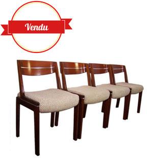 Chaise, dossier, gondole, chaise, 1970, assise laine, inclusion, de, métal, dans les boiseries,1980,acajou,bombé,vintage,haut de gamme