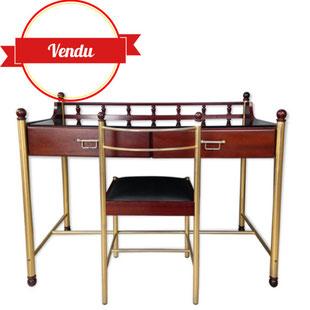 bureau design années 70,bureau design en acajou,bureau métal doré original design francais,simili cuir,hollywood regency,or,laiton,verre noir