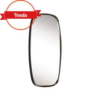miroir ovale,miroir rétroviseur, miroir métal,miroir laiton,miroir vintage,miroir rétro,laiton,doré,majdeltier,vintage,60,1960