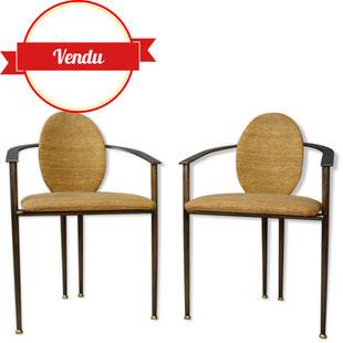 paire de fauteuils belgo chrom,fauteuil belgo chrom,fauteuil design haut de gamme,luxe,1970,cuivre,laiton,élégant,chaise a accoudoirs,vintage