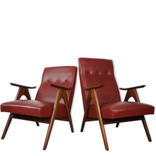 paire de fauteuils scandinave louis van teefelen vintage,design vintage,scandinave,lille,design scandinave,fauteuils en teck,paire de fauteuils,simili cuir bordeaux,capitonné,majdeltier,lille,bondues