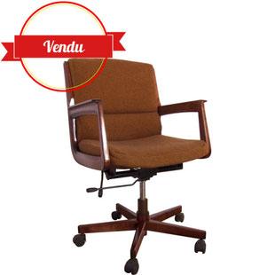 fauteuil,bureau,vintage,ancien,hétre,bois,étoile,réglable,marron,noir,chiné,1970;196,1980