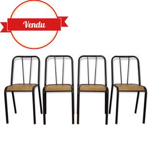 chaise,Rodney Kinsman,métal,tole,indus,paris,industrielle,bois,barreaux,école,usine,tolix,strafor