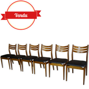 6 chaises scandinaves,6 chaises, vintage,scandinave,design,teck,1950,1960,bois courbé,simili cuir,noir,bois clair,teck,vintage,chic,1960,1950,1970,50,60,70,wood,leather,france,scandi,scandinave