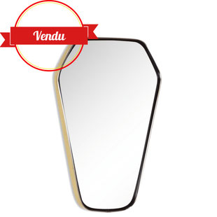 miroir diamant,forme diamant,miroir vintage,miroir design,miroir rétroviseur,bord laiton,majdeltier