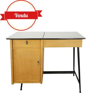 bureau formica,bureau ancien,années 50,années 60 ,bureau vintage formica,bureau pieds compas,relevable,bureau bois ,majdeltier