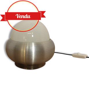 Lampe ovni champignon 1970 inox verre design vintage