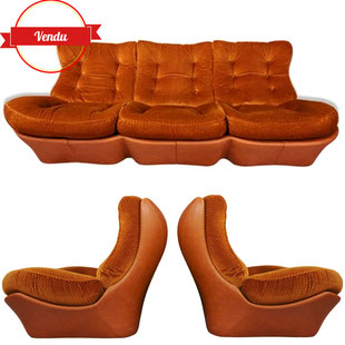 salon space age 1970,sofa,french design,design français,orange brulé,salon orange vintage,salon design 1970,années 70