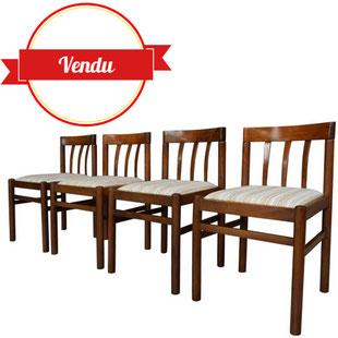 4, chaises, scandinaves, dossier, courbé, assise, tissu, tubulaire, teck, vintage, 1950, 1960