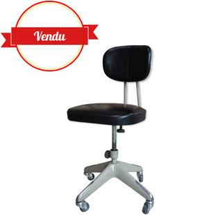 chaise indus,chaise de bureau strafor,strafor,indus,industrielle,lille,métal,gris,patine,simili cuir noir