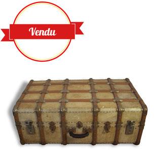 valise,malle,cabine,voyage,ancienne,écoinçons,laiton,bois,cuir,peau,charme,authentique,vintage