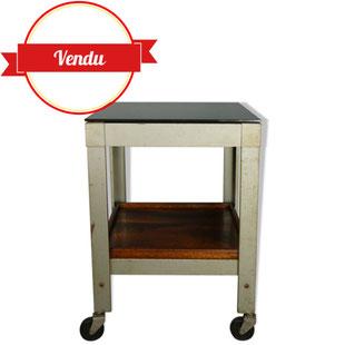 table roulante industrielle,indus,desserte,table d'appoint,métal,bois,verre,1950,usine,industriel