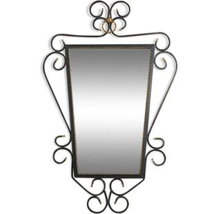 trés grand miroir,grand miroir vintage,miroir art deco,miroir ancien,fer forgé,élégant,miroir raffiné,élégant,rare,scandinave,industriel,années 50, majdeltier,miroir vintage,orné,miroir