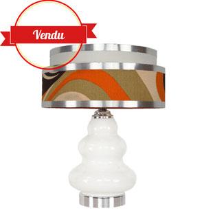 lampe space age,lamp space age,french design,vintage,années70,opaline,lampe en verre,lampe années60,orange,lampe pop 70,seventies,mazzega,carlo nason,majdeltier,vintage et design