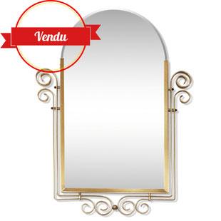 miroir des années 50, miroir art déco,miroir rock,miroir doré,miroir or,volutes,lyre,majdeltier,miroir rétro,miroir vintage,design et original