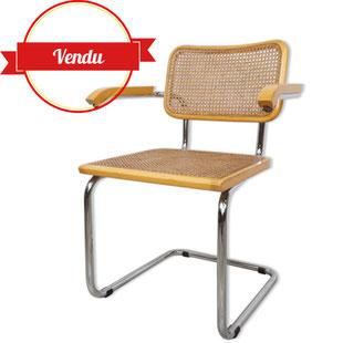 fauteuil marcel breuer b64,chaise chrome et cannage,assise paille,chaise chrome,tendance,rétro,vintage,boutique,paris,lille,majdeltier