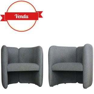 Paide de fauteuils,vintage,club,circulaire,rond,courbé,1970,1980,eugenio gerli,belgium,belgique,Bulo,ancien,tissu,gris,gris clair